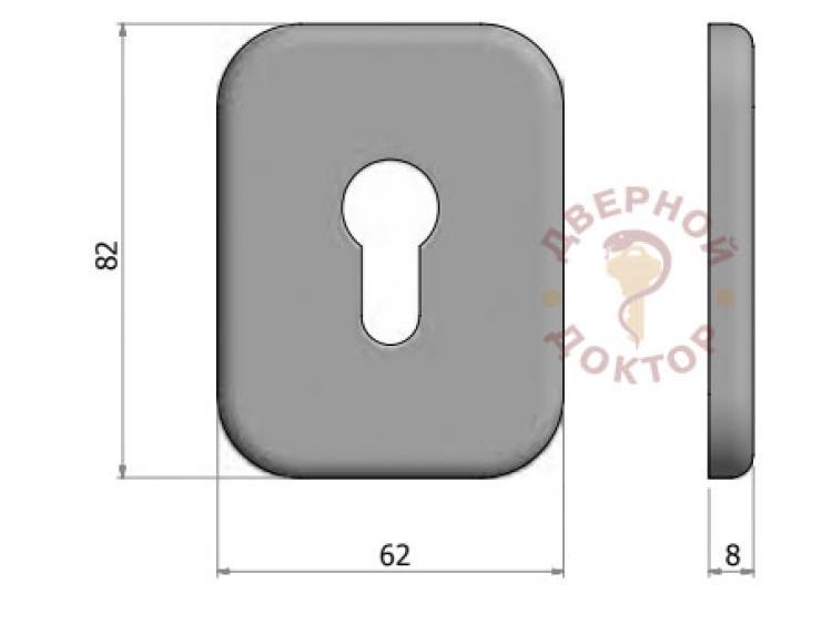 Размеры декоративной накладки мат.никель
