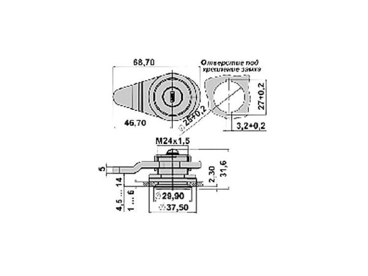 Размеры замка ЗН-1 Крит